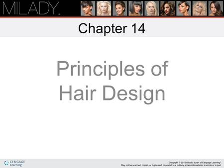 Principles of Hair Design Chapter 14 Learning Objectives Describe sources of hair design inspiration. List the five elements of hair design and how they.