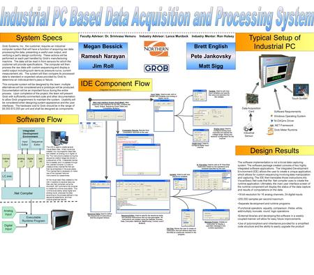 Grob Systems, Inc., the customer, requires an industrial computer system that will have a function of acquiring raw data, processing the data, presenting.