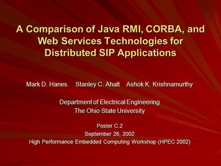 A Comparison of Java RMI, CORBA, and Web Services Technologies for Distributed SIP Applications Mark D. Hanes Stanley C. Ahalt Ashok K. Krishnamurthy Department.