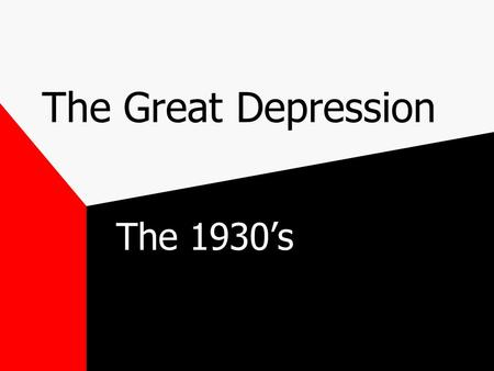The Great Depression The 1930's The Crash Black Tuesday Boom market>increased speculation>great sell-off Oct '29 America enters the Great Depression.