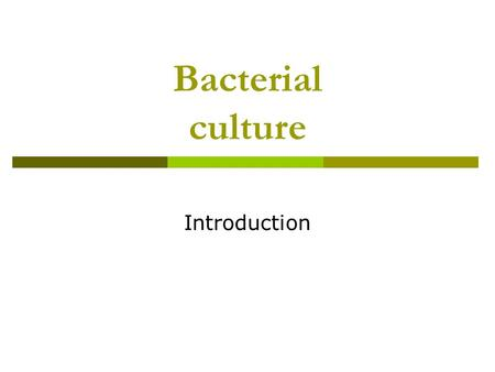 Bacterial culture Introduction. What are bacteria?  Prokaryotic organism  Unicellular  No nuclear envelope around the genomic DNA  Absence of cellular.