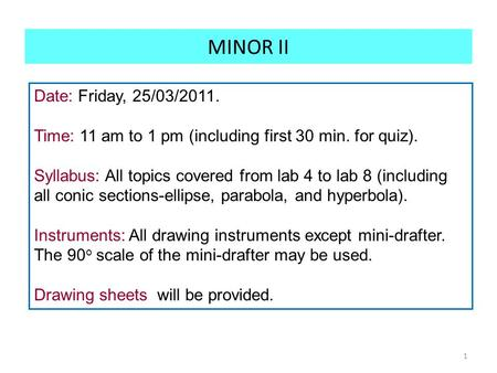 MINOR II 1 Date: Friday, 25/03/2011. Time: 11 am to 1 pm (including first 30 min. for quiz). Syllabus: All topics covered from lab 4 to lab 8 (including.