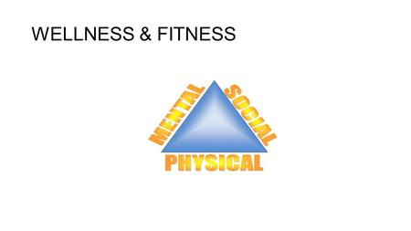 WELLNESS & FITNESS. Wellness The balanced state of being of one's health: physical, social, mental health Intellectual & emotional & spiritual health.