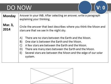DO NOW V: 0 Monday Mar. 3, 2014 Answer in your INB. After selecting an answer, write a paragraph explaining your thinking. Circle the answer that best.