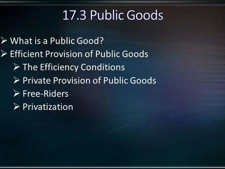  What is a Public Good?  Efficient Provision of Public Goods  The Efficiency Conditions  Private Provision of Public Goods  Free-Riders  Privatization.