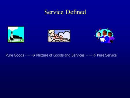 Service Defined Pure Goods -----  Mixture of Goods and Services -----  Pure Service.