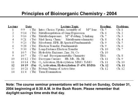Principles of Bioinorganic Chemistry - 2004 Note: The course seminar presentations will be held on Sunday, October 31, 2004 beginning at 8:30 A.M. in the.