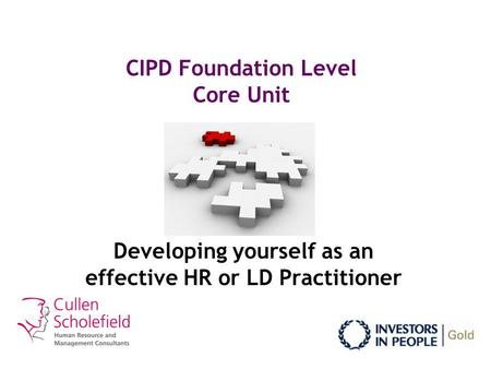 CIPD Foundation Level Core Unit Developing yourself as an effective HR or LD Practitioner.