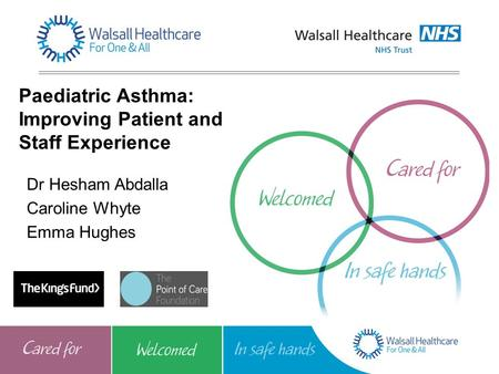 Paediatric Asthma: Improving Patient and Staff Experience Dr Hesham Abdalla Caroline Whyte Emma Hughes.