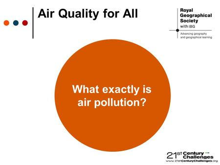 Air Quality for All What exactly is air pollution?