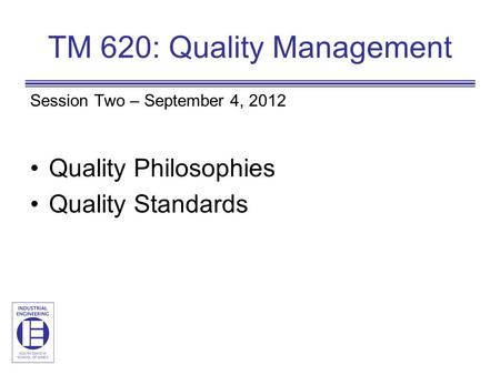 TM 620: Quality Management