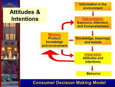 Consumer Decision Making Model Memory Product knowledge and involvement Information in the environment Interpretation Exposure, Attention, and Comprehension.