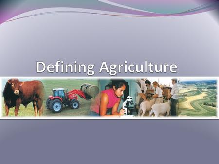 Interest Approach Ask students to define agriculture. Ask them what the agriculture industry produces. If they have difficulty, ask them to explain the.