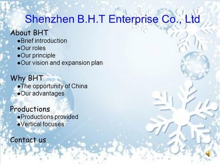 Shenzhen B.H.T Enterprise Co., Ltd About BHT ●Brief introduction ●Our roles ●Our principle ●Our vision and expansion plan Why BHT ●The opportunity of China.