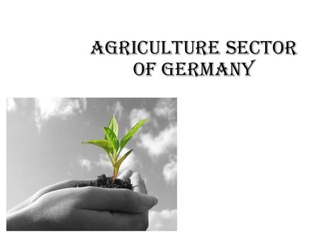 Agriculture sector of Germany. Germany known for the great population of 82.5 mln people. Consists mostly of great lands of agriculture Especially in.