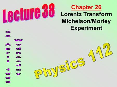 Chapter 26 Lorentz Transform Michelson/Morley Experiment.