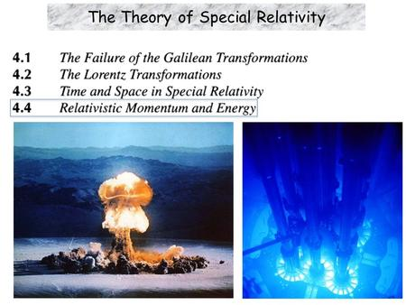 The Theory of Special Relativity. Learning Objectives  Relativistic momentum: Why p ≠ mv as in Newtonian physics. Instead,  Energy of an object: Total.