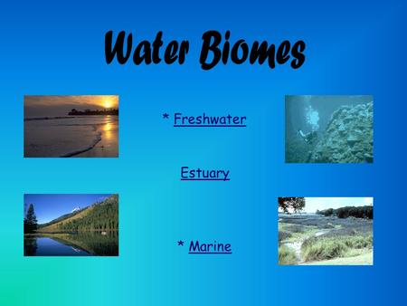 * MarineMarine * FreshwaterFreshwater Estuary. * Includes still water and moving water * Examples of still water* Examples of moving water * lakes and.