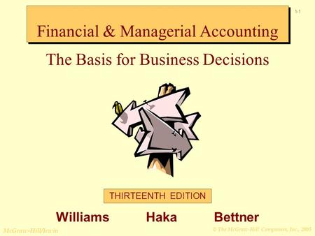 © The McGraw-Hill Companies, Inc., 2005 McGraw-Hill/Irwin 1-1 Financial & Managerial Accounting The Basis for Business Decisions THIRTEENTH EDITION Williams.