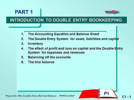 C1 - 1 1.The Accounting Equation and Balance Sheet 2.The Double Entry System for asset, liabilities and capital 3.Inventory 4.The effect of profit and.