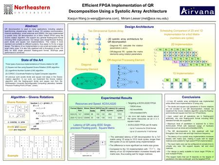 Efficient FPGA Implementation of QR Decomposition Using a Systolic Array Architecture Xiaojun Wang Miriam Leeser