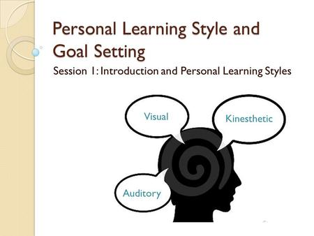 Personal Learning Style and Goal Setting Session 1: Introduction and Personal Learning Styles Visual Kinesthetic Auditory.
