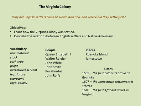 The Virginia Colony Why did English settlers come to North America, and where did they settle first? Objectives: Learn how the Virginia Colony was settled.