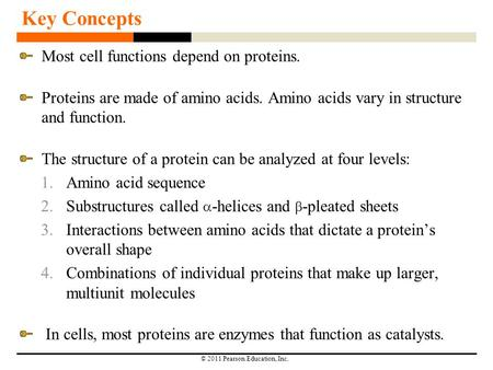 © 2011 Pearson Education, Inc. Key Concepts Most cell functions depend on proteins. Proteins are made of amino acids. Amino acids vary in structure and.