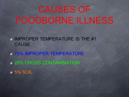 CAUSES OF FOODBORNE ILLNESS IMPROPER TEMPERATURE IS THE #1 CAUSE 75% IMPROPER TEMPERATURE 20% CROSS CONTAMINATION 5% SOIL.