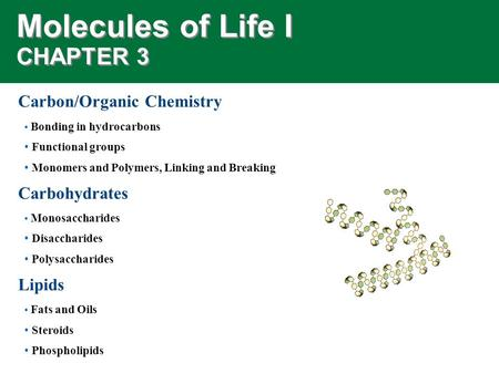 Molecules of Life I CHAPTER 3 Carbon/Organic Chemistry Bonding in hydrocarbons Functional groups Monomers and Polymers, Linking and Breaking Carbohydrates.