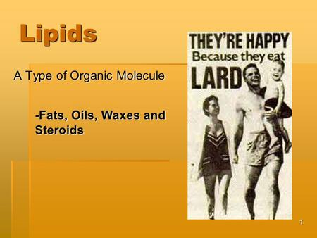 1 Lipids A Type of Organic Molecule -Fats, Oils, Waxes and Steroids.
