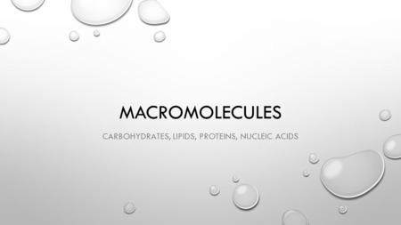 MACROMOLECULES CARBOHYDRATES, LIPIDS, PROTEINS, NUCLEIC ACIDS.