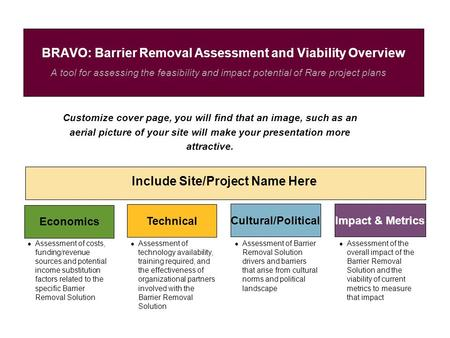 A tool for assessing the feasibility and impact potential of Rare project plans BRAVO: Barrier Removal Assessment and Viability Overview Include Site/Project.