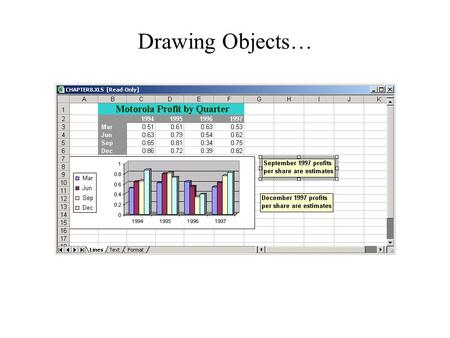 Drawing Objects…. This lesson will cover: What Can You Draw? How to … Add Graphics to your worksheet Draw and Format AutoShapes Draw and Format Text Boxes.