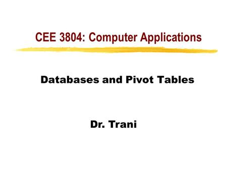 CEE 3804: Computer Applications Databases and Pivot Tables Dr. Trani.