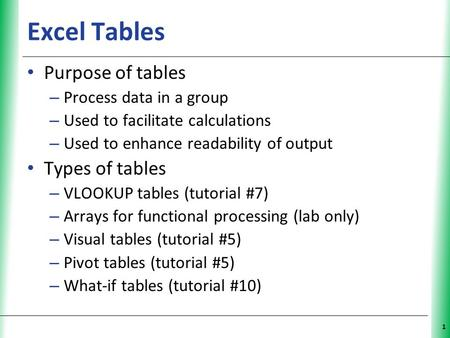 XP 1 Excel Tables Purpose of tables – Process data in a group – Used to facilitate calculations – Used to enhance readability of output Types of tables.