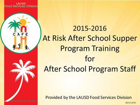 At Risk After School Supper Program Training for