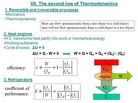 VII. The second low of Thermodynamics