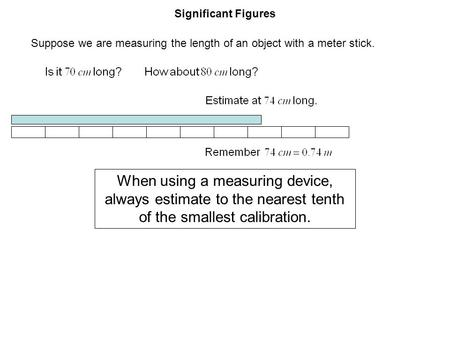Significant Figures Suppose we are measuring the length of an object with a meter stick. When using a measuring device, always estimate to the nearest.