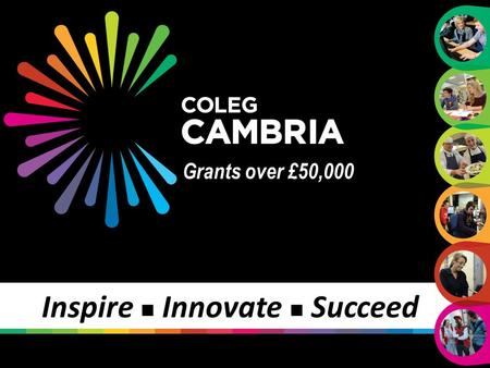 Grants over £50,000 Inspire Innovate Succeed. Process Inspire Innovate Succeed www.cambria.ac.uk A two step process; Stage 1 – on one page proforma with.
