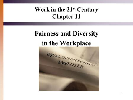 1 Work in the 21 st Century Chapter 11 Fairness and Diversity in the Workplace.