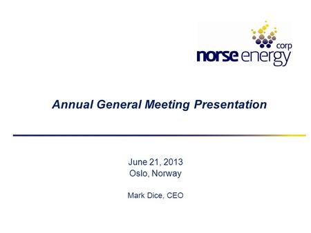 Annual General Meeting Presentation June 21, 2013 Oslo, Norway Mark Dice, CEO.