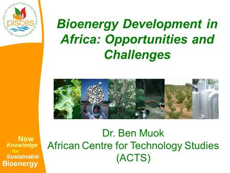 New Knowledge for Sustainable Bioenergy Bioenergy Development in Africa: Opportunities and Challenges Dr. Ben Muok African Centre for Technology Studies.