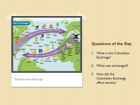 The Columbian Exchange 1.What is the Columbian Exchange? 2.What was exchanged? 3.How did the Columbian Exchange affect society? Questions of the Day.