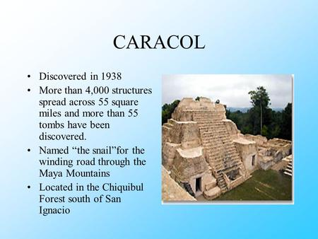 "CARACOL Discovered in 1938 More than 4,000 structures spread across 55 square miles and more than 55 tombs have been discovered. Named ""the snail""for."