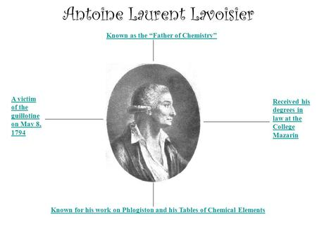 "Antoine Laurent Lavoisier Known as the ""Father of Chemistry"" Received his degrees in law at the College Mazarin Known for his work on Phlogiston and his."