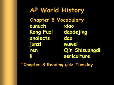Chapter 8 Reading quiz Tuesday