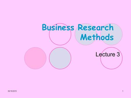 06/10/20151 Business Research Methods Lecture 3. 06/10/20152 Accessing and reviewing literature as part of research Lecture Outline: Why is it so important.