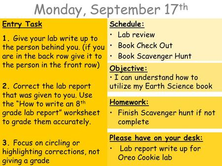 Monday, September 17 th Entry Task 1. Give your lab write up to the person behind you. (if you are in the back row give it to the person in the front row)