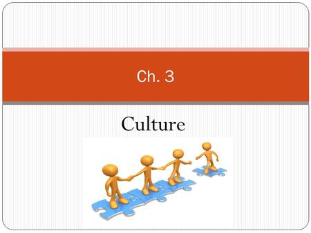 Culture Ch. 3. Culture consists of material objects, patterns of thinking, feeling, language, beliefs, values, norms, and behaviors passed from one generation.